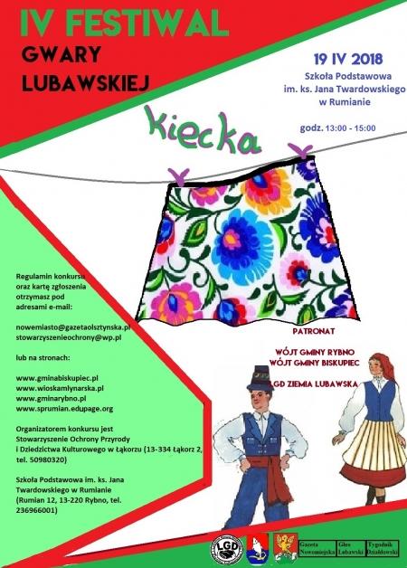Zapraszamy do udziału w IV Festiwalu Gwary Lubawskiej