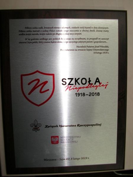 Certyfikat - MIANO SZKOŁY NIEPODLEGŁEJ