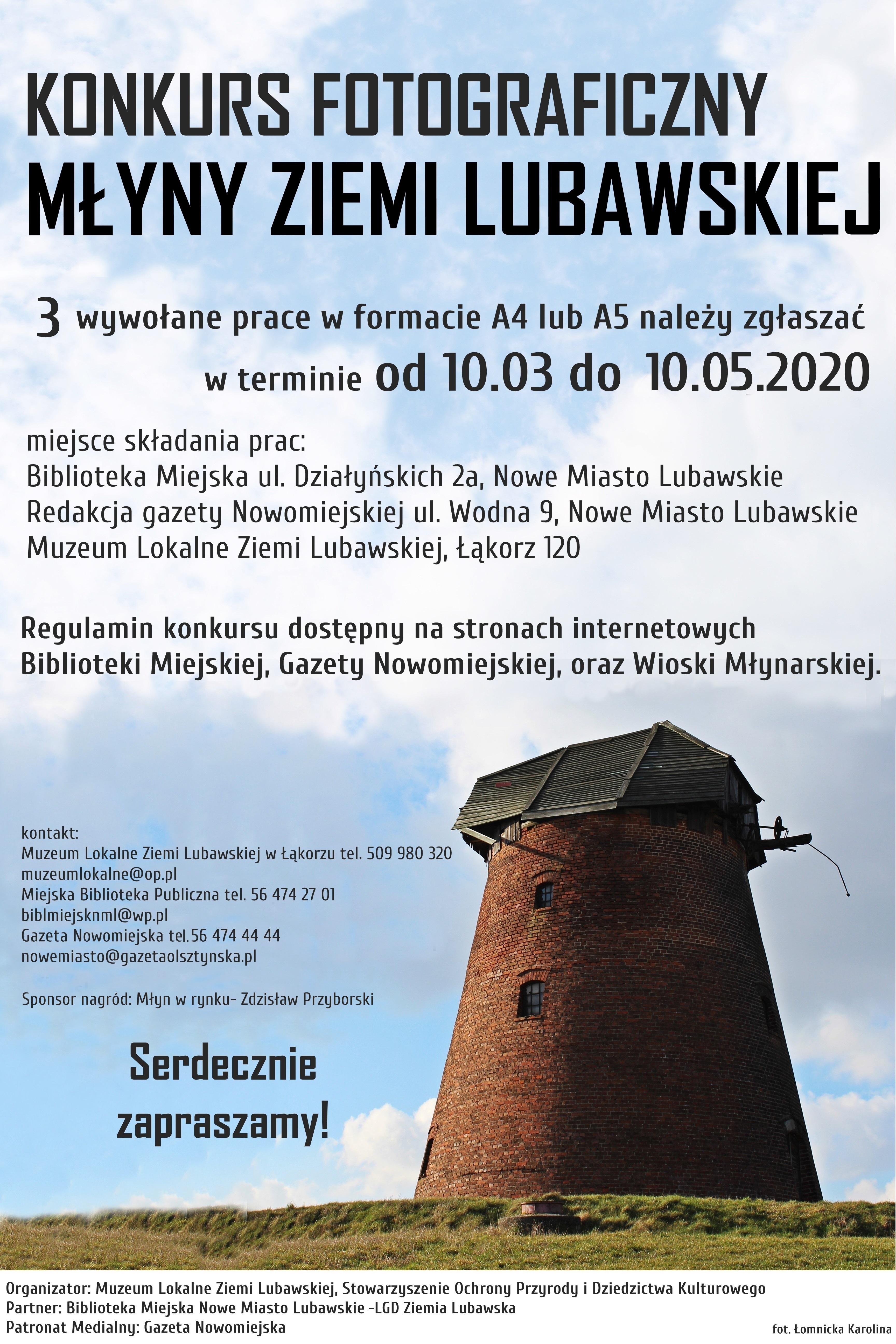 Zapraszamy do wzięcia udziału w Konkursie Młyny Ziemi Lubawskiej
