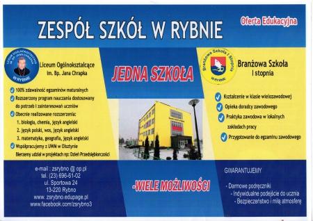 Terminy rekrutacji do Zespołu Szkół w Rybnie