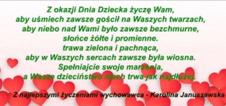 Dzień Dziecka - życzenia od Pani Karoliny Januszewskiej