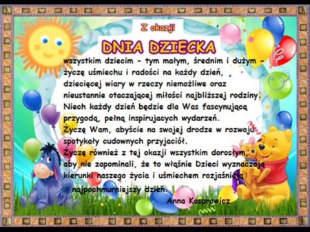 Dzień Dziecka - życzenia od Pani Anny Kasprowicz