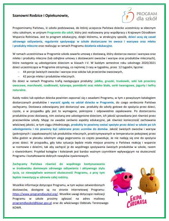 Program dla szkół Informacja dla Rodziców
