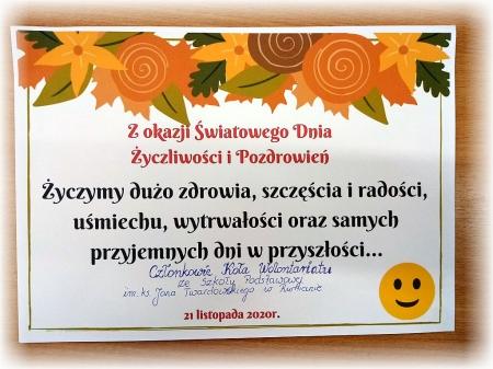 Dzień życzliwości i pozdrowień- akcja Wolontariatu