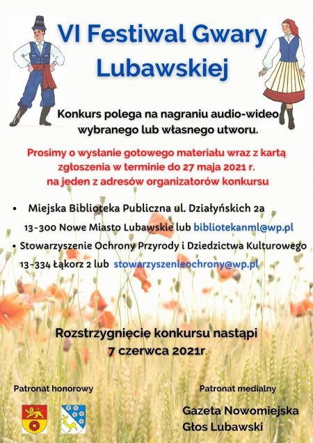 Zachęcamy uczniów oraz osoby dorosłe do udziału w VI Festiwalu Gwary Lubawsk